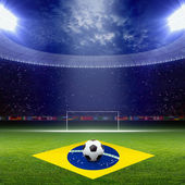 Soccer staduim, Brazil flag — Stock Photo