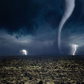 Tornado, lightning, farmland — Stock Photo