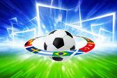 Balón de fútbol, banderas del equipo nacional — Foto de Stock