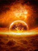 Exploderar planet — Stockfoto