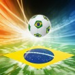 Soccer ball and flag of Brazil — Stock Photo #37365125