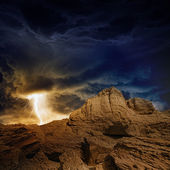 Stormy sky, lightning, mountains — Stock Photo