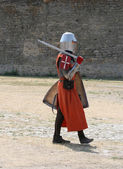 Medieval Knight Walking — Stock Photo