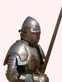 Medieval Knight on white background — Stock Photo