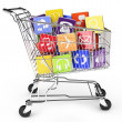 Stock Photo: Shopping cart with application software