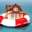 Home floating on a life preserver. — Stock Photo