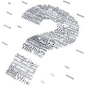 Question mark with questions like who,what where,when,why and how — 图库照片