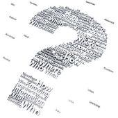 вопросительный знак с вопросами как кто, что, где, когда, почему и как — Стоковое фото