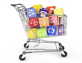 Shopping cart with application software — Stock Photo