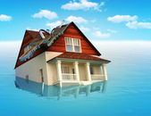 House sinking in water — Stock Photo