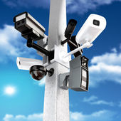 Surveillance mega camera's concept — Stock Photo