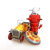 Retro vintage collection of toys, car, spin top and robot — Stock Photo