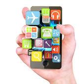 Main tenant le smartphone — Photo