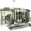 The White house textured with hundred dollar bills. — Stock Photo