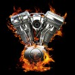 Chromed motorcycle engine on fire — Stock Photo