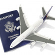 Jet aircraft with passport — Stock Photo #26282935