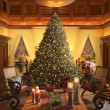 Christmas scene with elegant interior — Stock Photo