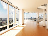 Modern interior with stair's overlooking a city — Stock Photo
