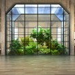 Empty room of business, or residence with atrium background — Foto Stock