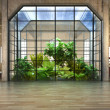 Stock Photo: Empty room of business, or residence with atrium background