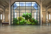 Empty room of business, or residence with atrium background — Stock Photo