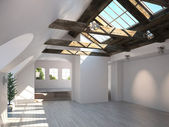 Empty room with rustic timber ceiling and skylights — Stock Photo