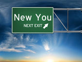 New you next exit, sign depicting a new change in life — Stock Photo