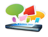 Smartphone with social media chat bubbles or speech bubbles extruding from the screen on a white background — Stock Photo
