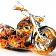 Hot burning bike with flames — Stock Photo