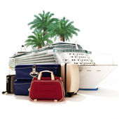 Cruise ship with luggage and palms in the background. — Stock Photo