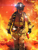 Fire fighter searching for survivors — Stock Photo