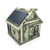 Solar power panels on a dollar house. — Stock Photo