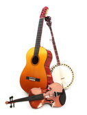 Stringed instruments on a white background. — Stock Photo