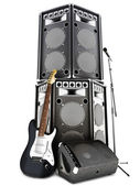 Heavy metal , rock and roll background with large tower speakers — Foto Stock