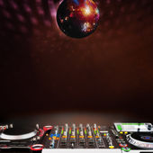 Disco music stage advertisement — Stock Photo