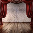Wood stage background with theatrical curtains — Stock Photo #38170867