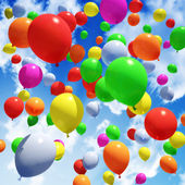 Multicolored Balloon's released into the sky — Stock Photo