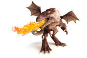 Fire breathing dragon on a white background — Stock Photo