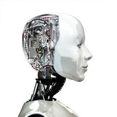 A robot woman head with internal technology — Stock Photo