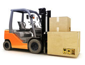 Forklift caring shipping packages — Stock Photo