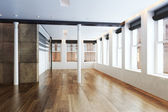 Empty Highrise apartment with column accent interior and hardwood floors — Stock Photo