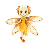 Cute toon fairy posing on a white background — Stock Photo