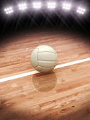 3d rendering of a Volleyball  on a court with stadium lighting — Stock Photo