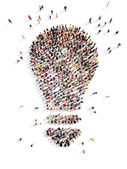Large group of people with Ideas — Stock Photo