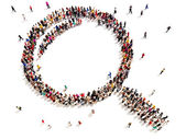 Large group of people in the shape of a magnifying glass. — Stock Photo