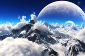 Celestial view of snow capped mountains and an alien planet. — Stock Photo