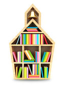 School house with colorful books. — Stock Photo