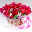 Basket of sweet flowers — Stock Photo