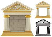 ギリシャの寺院ボックスからよじ登ってウサギ — ストックベクタ