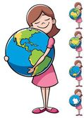 Child and Earth — Stock Vector